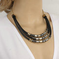 Fashion Personality Women Multi layer Gold-plated Metal Tube Leather Chain Necklace Clavicle Chain