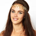 Fashion Retro Woman Alloy Angel wings Feather Tassel Chain Elastic Headband Hair Band Accessories