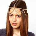 Fashion Retro Woman Alloy Multilayer Waves Tassel Chain Goddess Headband Hair Band Accessories