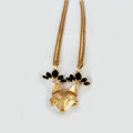 Fashion Retro Women Gold-plated Black Diamond Metal Texture Fox head Short Necklace Clavicle Chain