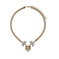 Fashion Retro Women Gold-plated White Diamond Metal Texture Fox head Short Necklace Clavicle Chain