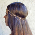 Fashion Simple Woman Bohemia Golden Alloy Pearl Wave Tassel Chain Headband Hair Accessories