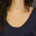 Fashion Simple Women Double layer Hollow Triangular Sequins Gold-plated Necklace Clavicle Chain
