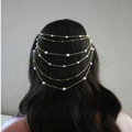 Fashion Woman Silver Alloy Pearl Copper Beads Multilayer Tassel Chain Headband Hair Comb Accessories