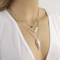 Fashion Women Multi layer Silver Gold-plated Peach Heart Metal Arrow Angel wings Necklace Clavicle Chain
