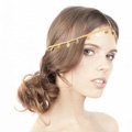 High Quality Fashion Woman Gold Plated Alloy Bling Sequins Tassel Chain Headband Hair Accessories