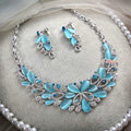 High-end Wedding Blue Peacock Alloy Rhinestone Gem Crystal Bridal Necklace Earrings Sets