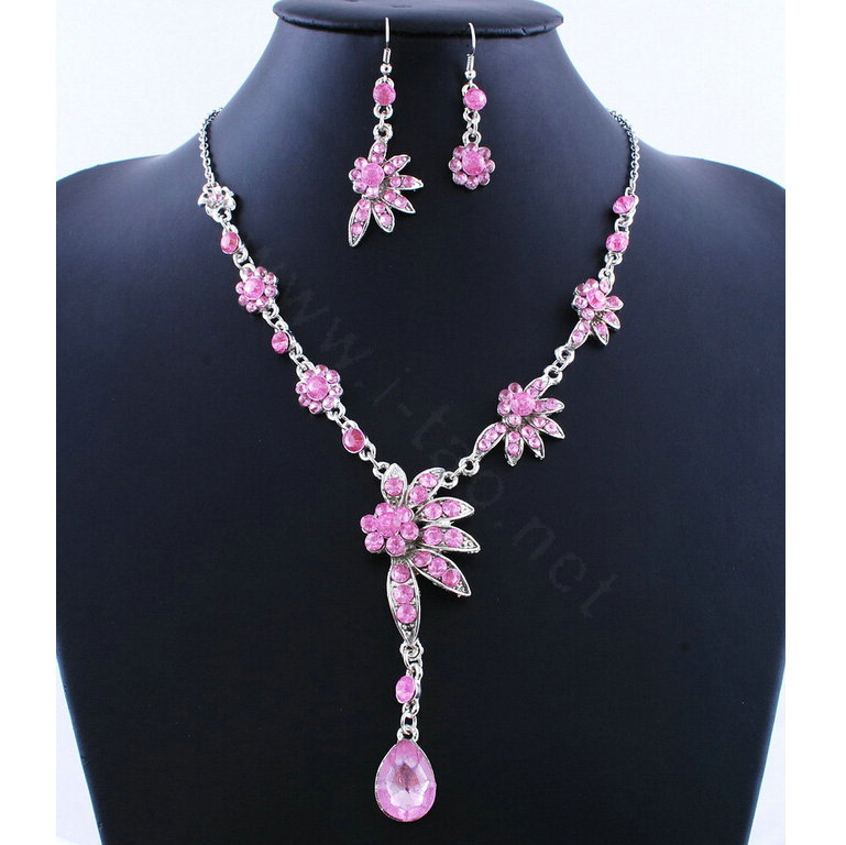 Buy wholesale high quality wedding bridal jewelry alloy for Pink wedding jewelry sets