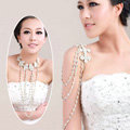 Hot sale Bridal Flower Rhinestone Crystal Tassel Shoulder Deco Bra Strap Necklace Wedding Jewelry