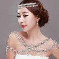 Hot sale Luxury Wedding Jewelry Rhinestone Crystal Bridal Necklace Tassel Shoulder Accessories