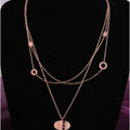 Hot sale Woman 18K Rose Gold Plated Alloy Pendant Three Layers Clavicle Chain Necklace