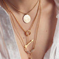 Hot sale Woman Gold Plated Diamond Angel wings Alloy Arrow Pendant Multilayer Clavicle Chain Necklace