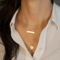 Hot sale Woman Simple Gold Plated Geometry Metal Sequins Three Layers Clavicle Chain Necklace