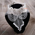 Luxury Pearl Rhinestones Crystal Bead Lace Flower Tassel Shoulder Deco Necklace Wedding Bridal Jewelry