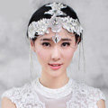 Luxury Wedding Headdress Crystal Rhinestone Lace Flower Tassel Bridal Headband Hair Accessories