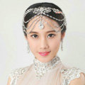 Luxury Wedding Headdress Rhinestone Crystal Flower Tassel Bridal Headband Hair Accessories
