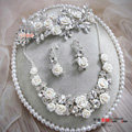 Luxury Wedding Jewellery Porcelain Flower Crystal Rhinestone Bridal Headband Earrings Necklace Sets