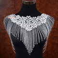 Luxury Wedding Jewelry Crystal Beads By hand Lace Flower Bridal Necklace Tassel Shoulder Accessories