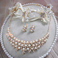 Luxury Wedding Jewelry Sets By hand Lace Pearl Crystal Flower Headband & Earrings & Bridal Necklace