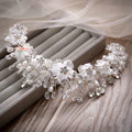 Luxury Wedding Rhinestone Pearl Crystal Beads Lace Flower Tiaras Bridal Crown Hair Accessories