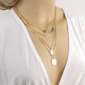 New Fashion Women Multi layer Gold-plated Peach Heart Metal Sequins Blue Crystal Necklace Clavicle Chain