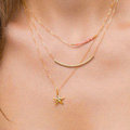 New Fashion Women Multi layer Gold-plated Pink Beads Starfish Metal Elbow Necklace Clavicle Chain