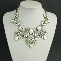 New Women Fashionable Exaggeration Diamond Square Crystal Gem Flower Bib Necklace Clavicle Chain