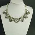 New Women Fashionable Exaggeration Gem Multi layer Pearl Flower Crystal Bib Necklace Clavicle Chain