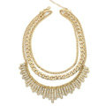 New Women Gold-plated Exaggeration Unique Crystal Diamond Multi layer Metal Bib Necklace Clavicle Chain