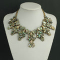 New Women Retro Fashionable Exaggeration Leopard Rhinestone Shell Flower Bib Necklace Clavicle Chain