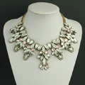 New Women Retro Fashionable Exaggeration Pink Rhinestone Shell Flower Bib Necklace Clavicle Chain