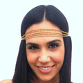 Retro Classic Woman Gold Plated Alloy Five Metal Chain Multilayer Headband Hair Band Accessories