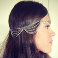Retro Classic Woman Silver Gold Plated Alloy Multilayer Waves Tassel Chain Headband Hair Band Accessories