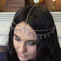Retro Fashion Woman Double layer Delicate Alloy Cross Tassel Chain Gold Plated Hair Headband Accessories