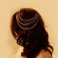 Retro Fashion Woman Silver Alloy Pearl Multilayer Tassel Chain Headband Hair Comb Accessories