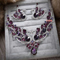 Retro Wedding Jewelry Purple Swan Rhinestone Crystal Necklace Earrings Set Bridal Party Gift