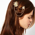Retro Woman Gold Plated Alloy Crystal Pearl Hollow Flower Tassel Edge Side Clip Hair pin Accessories
