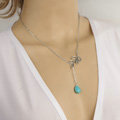 Simple Retro Women Gold-plated Drops of Turquoise Metal Leaf Tassel Necklace Clavicle Chain