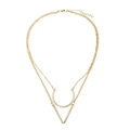 Unique Fashion Women Double layer Golden Gold-plated Geometry Triangular Necklace Clavicle Chain