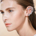 Unique Retro Wedding Bridal Europe Flower Crystal Zircon Eardrum Earrings Woman Jewelry