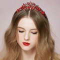 Vintage Bridal Wedding Alloy Rhinestone Tiaras Red Flower Pearl Crystal Crown Hair Accessories
