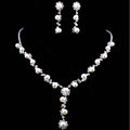 Vintage Wedding Bridal Jewelry Alloy Pearl Rhinestone Floral Pendant Necklace Earrings Set