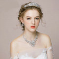 Vintage Wedding Bridal Jewelry Alloy Phoenix Rhinestone Crystal Beads Tiaras Necklace Earrings Set