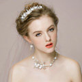 Vintage Wedding Bridal Jewelry Pearl Flower Rhinestone Crystal Bead Tiaras Necklace Earrings Set