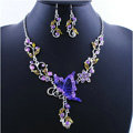 Vintage Wedding Bridal Jewelry Purple Rhinestone Butterfly Floral Gold Plated Chain Necklace Earrings Set