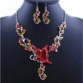 Vintage Wedding Bridal Jewelry Red Rhinestone Butterfly Floral Gold Plated Chain Necklace Earrings Set