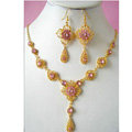 Vintage Wedding Bridal Jewelry Rhinestone Flower Pink Gold Plated Chain Necklace Earrings Set