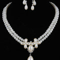 Vintage Wedding Bridal Jewelry Rhinestone Flower Two Layers Pearl Tassel Necklace Earrings Set