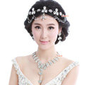 Wedding Jewelry Alloy Flower Rhinestone Crystal Tassel Tiaras Necklace Earrings Set Bridal Party