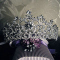 18K White Gold Plated Vintage Rhinestone Bridal Tiara Wedding Hair Accessories Crystal Pageant Crowns